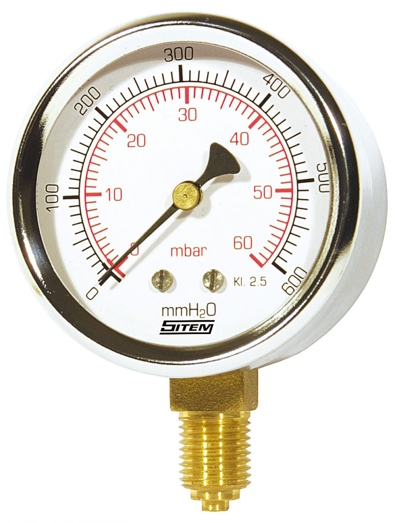 Manometro gas attacco radiale 80mm 0-100 mbar Caleffi